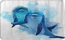 CIKYOWAY Bathroom Mat Two Blue Dolphins,Door Mat