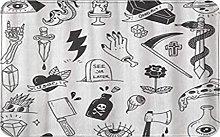 CIKYOWAY Bathroom Mat Various Tattoo Doodle White