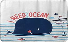 CIKYOWAY Bathroom Mat Whale Design,Door Mat Bath