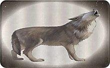 CIKYOWAY Bathroom Mat Wolf Howling Full Moon