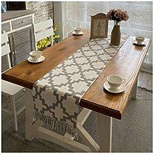 Cinnanal Beige Grey Table Runner for Coffee Table