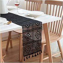 Cinnanal Black Kitchen Table Runner 24x300cm
