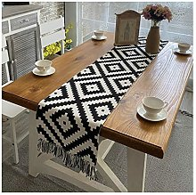 Cinnanal Black White Table Runner Kitchen 32x240cm