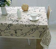 Cinnanal Cotton Linen Waterproof Tablecloth for
