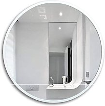 Circle Makeup Mirror Wooden White Wall Mirror HD