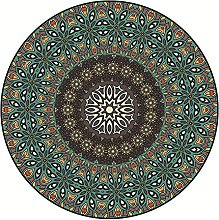 Circle Rug,Bohemian Vintage Mandala Print Brown