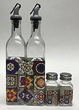 Circleware Talavera Set/4 Oil and Vinegar/Salt and