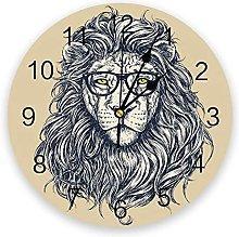 Circular Wall Clock Animal Lion Facial Glasses