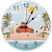 Circular Wall Clock Beach Surfing Palm Trees Wall