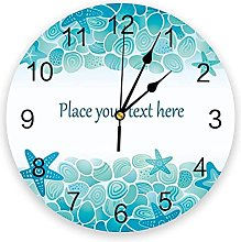 Circular Wall Clock Blue Sea Stones Starfish