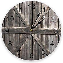 Circular Wall Clock Farm Plank Warehouse Wall