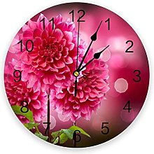 Circular Wall Clock Red Flowers Leaves Plant Wall