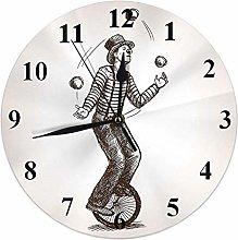 Circus Clock Juggler Man On Retro Vintage Old