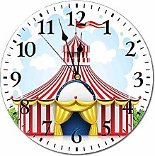 Circus Decor Round Wall Clock,Striped Strolling