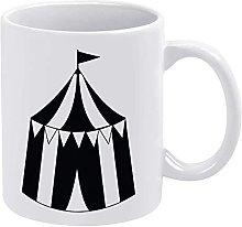Circus Tent Black Line White Ceramic CoffeeTeaMilk