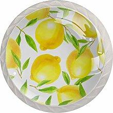 Citrus Fruit Yellow LemonRound Glass knob White