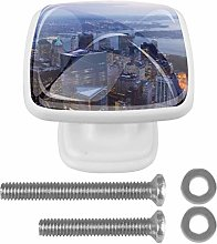 City Pattern Drawer knobs 4 Pack Round Glass