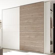 Civic Slide Door Tall Wardrobe In Matt White And