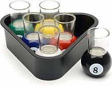 CKB LTD 6 Pool Ball Shot Glasses with Triangle