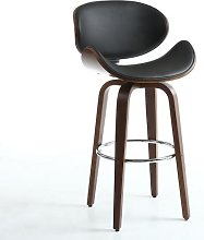Clapton Bar Stool In Black And Walnut With Chrome