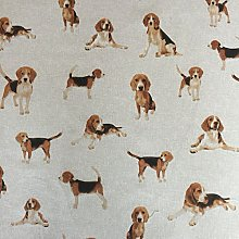 Classic Animals Dogs Design Cotton Rich Linen Look