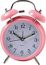 Classic Bells Clocks Digits Quatz Clock - Pink -