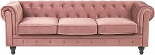 Classic Chesterfield Sofa Pink Button Tufted 3