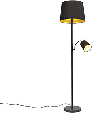 Classic floor lamp black with gold and reading