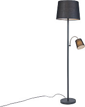 Classic Floor Lamp with Reading Arm Black with