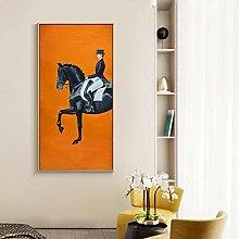 Classic Modern Orange Horse Racing Canvas Print