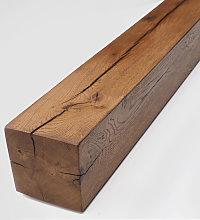 Classic Oak Fireplace Beam - Walnut Brown Finish