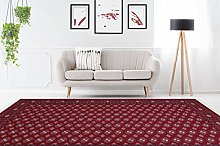Classic Oriental Rug with Fringes Living Room Red
