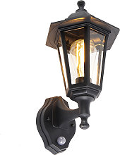 Classic outdoor wall lamp black with motion sensor