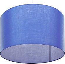 Classic Pendant Lamp Fabric Drum Shade White Cord
