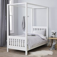 Classic Single Four Poster Bed, White, One Size
