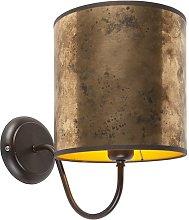 Classic wall lamp brown with bronze shade - Matt