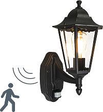 Classic Wall Lantern Black with Motion Sensor IP44