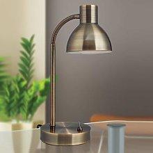 Classical LED desk lamp Isra antique brass
