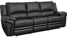 Clavet Leather 3 Seater Recliner Sofa (Black),