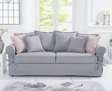 Clemence Grey Linen 3 Seater Sofa