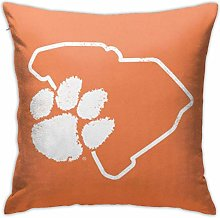 Clemson Tiger Paw Square Pillow Case Home Sofa