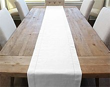 CleverDelights White Linen Hemstitched Table