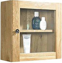 clickbasin Bathroom Glass Cabinet Solid Oak Wall