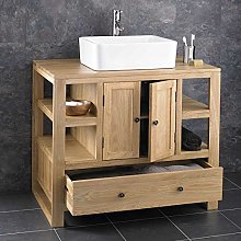 clickbasin Large Contemporary Solid Oak 900mm Wide
