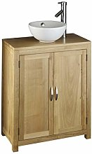 clickbasin Round Sink On 650mm by 340mm Solid Oak