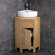 clickbasin Small Corner Oak Vanity Unit with