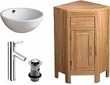 clickbasin Solid Oak Corner Bathroom Cloakroom