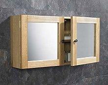 clickbasin Solid Oak Wall Hung Mirror Cabinet in