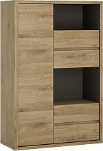 Clifford 1 Door 4 Drawer Display Cabinet - Oak