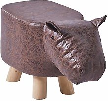 CLIPOP Animal Shaped Footstool Hippo Upholstered